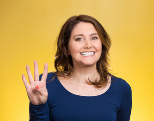 Woman, making four, 4 times sign gesture with hand