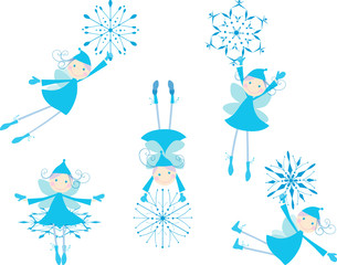 winter elves with snowflakes