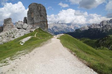 Mountain trail path, Dolomites Alps, Italy