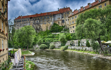 City of Prague, Vltava river and typical medieval architecture i