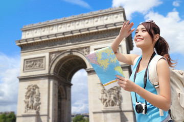 Happy woman travel in Paris