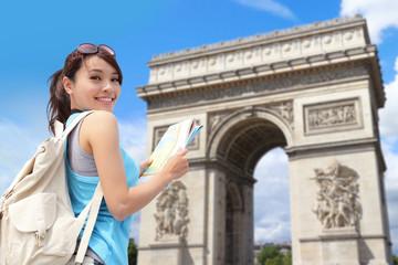 Happy woman travel in Paris