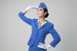 Charming Stewardess Dressed In Blue Uniform - 69555093