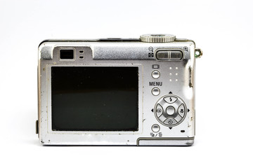 old compact camera on white background