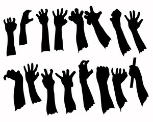 Silhouette set of hands in many gesture