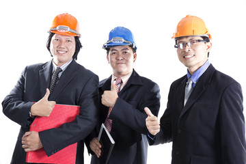 Three Engineers  With Thumb Up Sign
