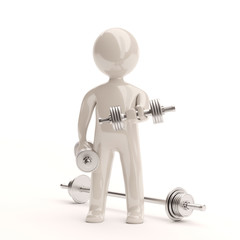 3d little man with dumbbells