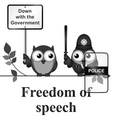 Monochrome comical freedom of speech