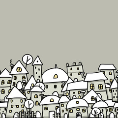Winter city sketch, seamless pattern for your design