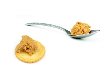 Creamy peanut butter in a spoon