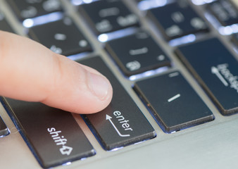 little hand and enter keyboard focus on enter button and finger