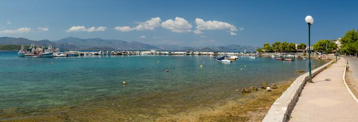 Panoramic view of Theologos harbor, Phthiotis, Greece