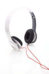 white headphone on white background