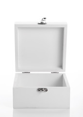white wooden box used product packaging