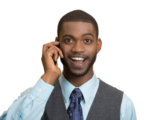 Happy business man, talking on mobile phone, white background