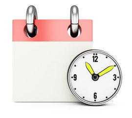 Blank calendar with clock