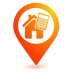 crédit immobilier sur symbole localisation orange