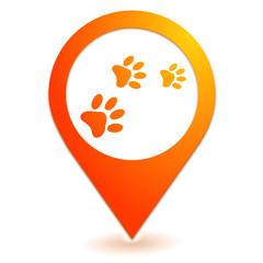 pates de chien sur symbole localisation orange