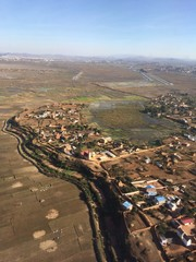 Vue aérienne autour d'Antananarivo à Madagascar