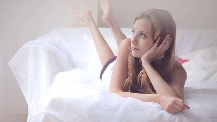 Woman spending morning in bed