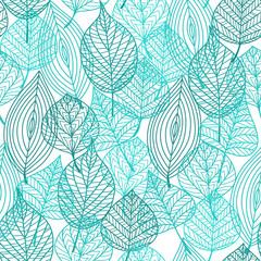 Foliage green leaves seamless pattern