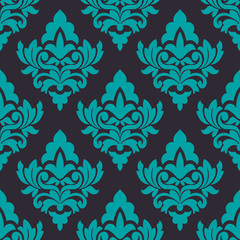 Floral turquoise damask seamless pattern