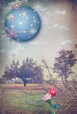 Vintage countryside with colored flowers and starry sky