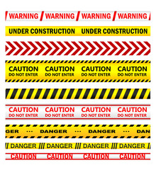 Yellow warning tapes with texts