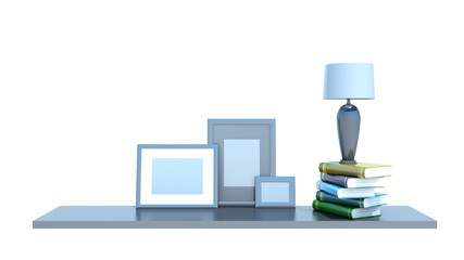 shelf with books, lamp and picture