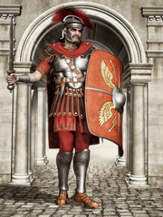 Starożytny rzymski żołnierz w hełmie, z tarczą i mieczem