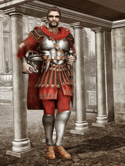Starożytny rzymski żołnierz na tle budowli z marmuru