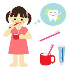 歯みがき 女の子 / vector eps10