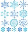 雪の結晶 手描きイラスト