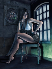 Kobieta siedząca na krześle w ciemnym pokoju