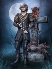 Młody mężczyzna z różą obok nagrobka na tle księżyca