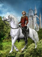 Baśniowy książę na koniu na tle zamku