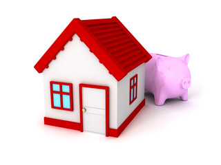 Piggy Bank with red roof house on white