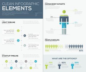 Green and blue infographic data visualization vector elements