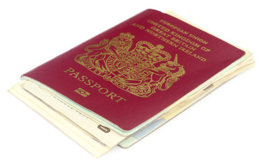British passport with some documents