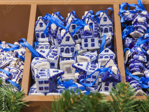 canvas print picture Sale of Christmas-tree decorations in national dutch style