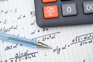 Equations close-up. Homework. Solving Mathematical Problem.