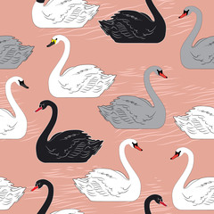 Swans. Seamless vector pattern. Template for design.