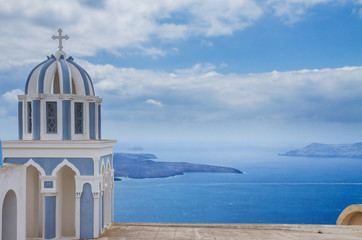 belfry and  caldera of Santorini island, Greece