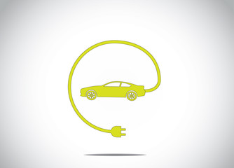 green electric hybrid car charger plug concept symbol