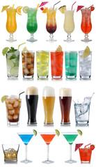 Set von Getränke, Cocktails, Cola, Bier, Wasser und Whisky