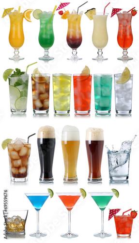 Leinwanddruck Bild Set von Getränke, Cocktails, Cola, Bier, Wasser und Whisky