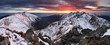 canvas print picture - Majestic sunset in winter mountains landscape