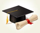 Graduation cap and diploma - 69560061