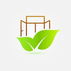 Window bright eco icon - vector green ecology symbol