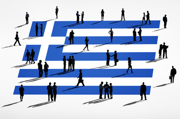 Silhouette Business People With Greek Flag